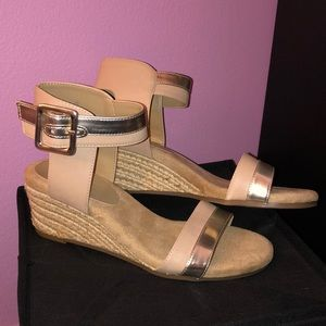 Tan Ankle Strap Wedges